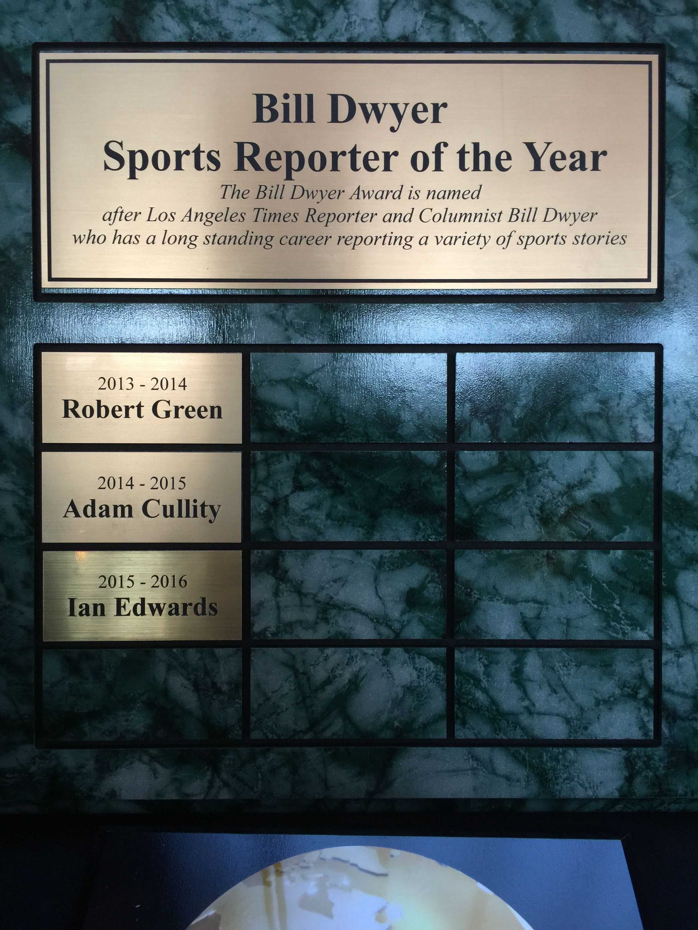 Our+Sports+Reporter+of+the+Year+is+honored+by+Mr.+Bill+Dweyer+himself.