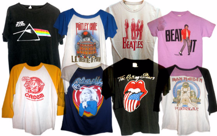 195892cbb909 These are many of the most common band t-shirts seen on students. Many