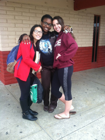 """Seniors Esthefany Salazar (left), Brizhané Sam (middle), and Valerie Mendoza (right) wait for their turn to audition.  Brizhané Sam states, """"Dance pushes me to do better in my classes, because I know that I can't dance with bad grades."""""""