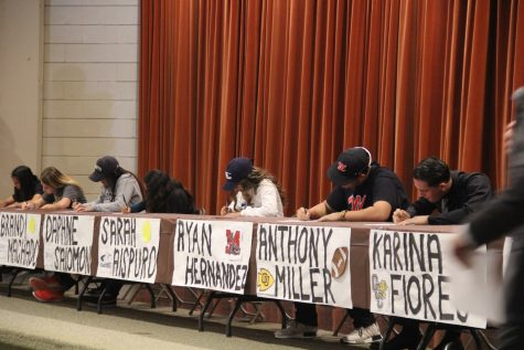 "The signing table for 11 athletes was set up in the MPR to honor and congratulate those accepting serious college offers.  These eleven students are the first to participate in a new ""Life After Lugo: Sports Edition"" tradition for Lugo. ""This was a very exciting moment for all of us kids, especially in front of loved ones,"" expressed Brandi Machado."