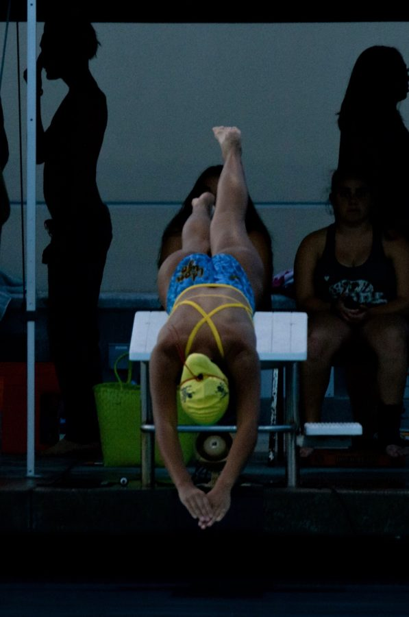 Sabrina Perez diving off the starting block into the pool.