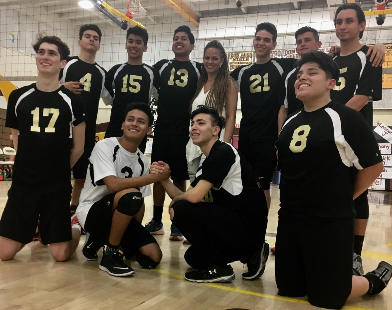Don Lugo's boys volleyball team Class of 2017. With this being the teams first year they were able to get 10 seniors to play. The team lost 3-1 to Ganesha High school.