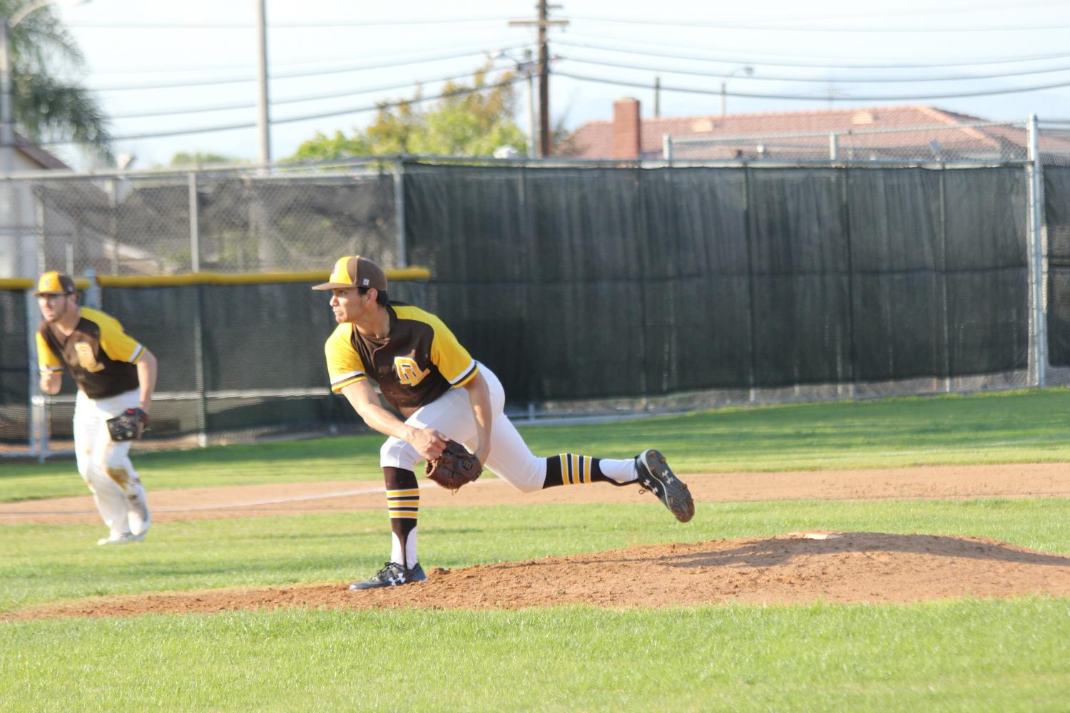Don Lugo very own Josh Ibarra makes an out to 3rd baseman to make an out against Cajon High School.