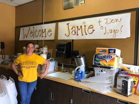 "The Leadership department welcomes Jaime with a sign hung inside the student store. Jaime states ,""I was excited to come over here. I have seen the student store and was wanting to come and help."""