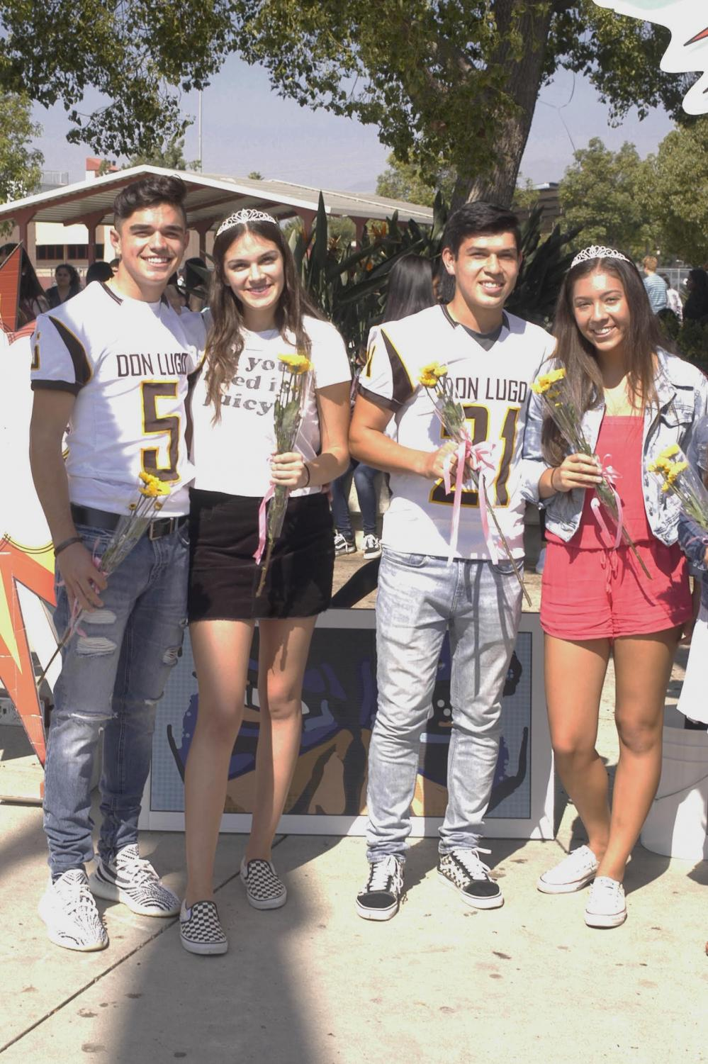 A few candidates of the senior court on the day they announced all nominee's in the quad. From right to left Austin Holland, Brandie Altuna, Diego Gomez, and Briana Cabrera. Photo courtesy of Daniel Pahutan