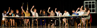 From left to right is Yvonne Rubio (Juror #12), Ariana Sanchez (Juror #11), Ryon Soovajian (Juror #10), Krysta Tillett (Juror #9), Eddie Lillie (Juror #8), Olivia Ellis (Juror #7), Hailey Scott (Juror #6), Justin Lagunes (Juror #5), Andreia Sales (Juror #4), Jonathan Alaniz (Juror #3), Danielle Ortiz (Juror #2), and Mikaela Rios (Foreman aka Juror #1). Not pictured is Rashonda Taylor who portrayed the Guard
