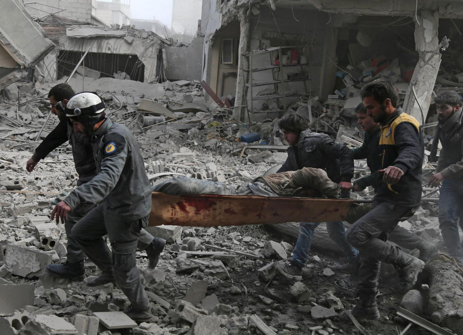 Destruction litters the street of Eastern Ghouta as Syrian president, Bashar al-Assad, orders air strike attacks and bombings on innocent lives. Picture from Public Domain.