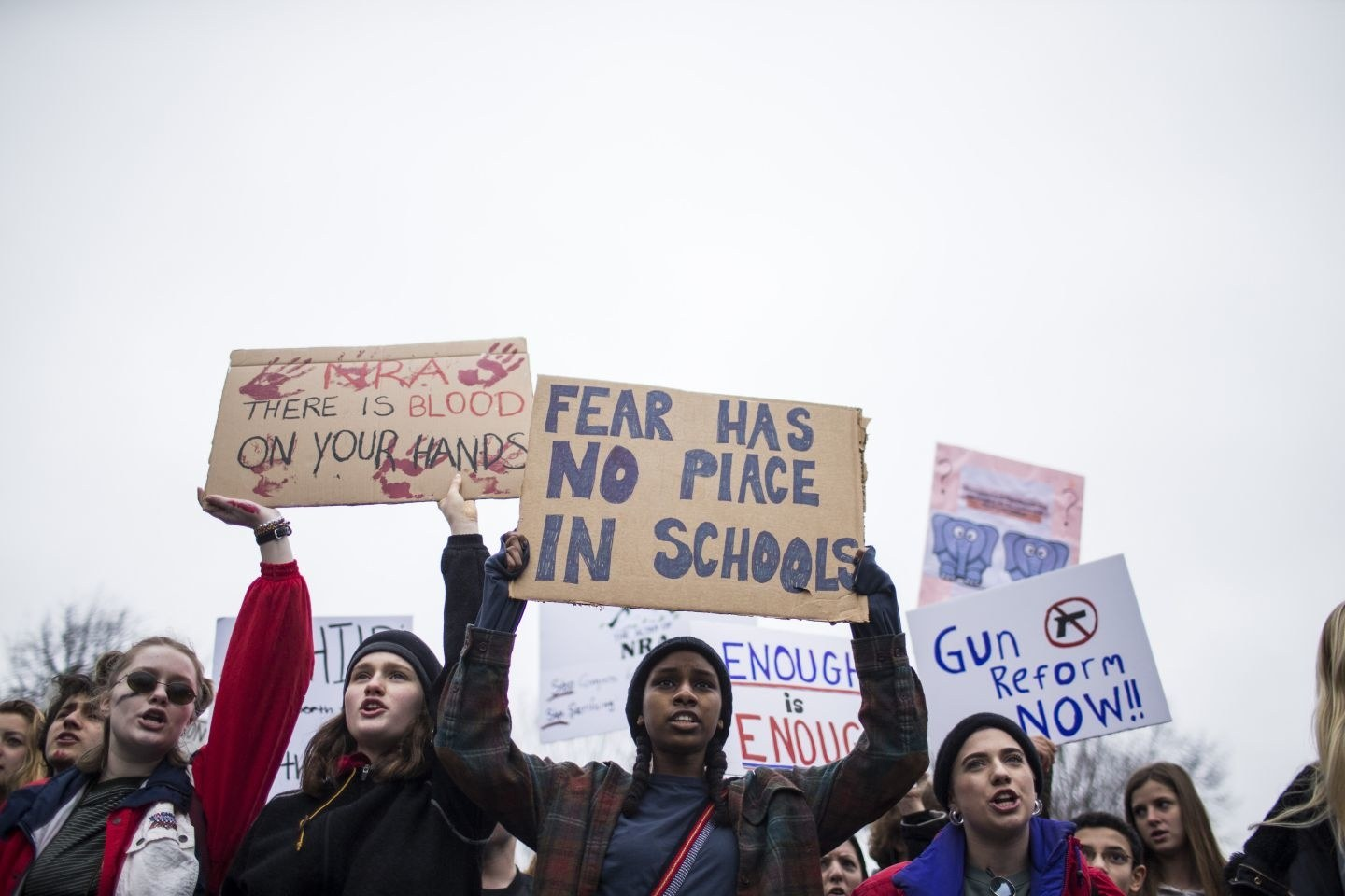 Survivors of the Parkland school shooting protesting for stricter Gun Laws. (Public Domain Photo)