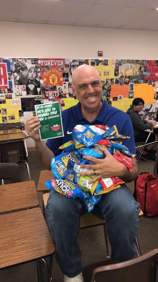 Mr. Grebel in his classroom showing off his jolly ranchers. Photo courtesy of Alyssa Gonzalez