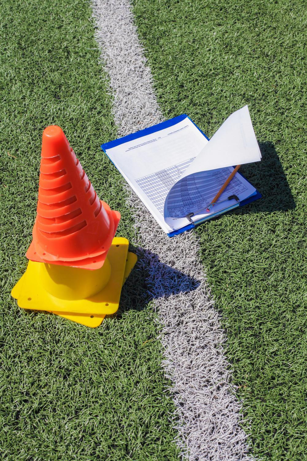 Garcia's clipboard and cones, ready for a day at the field.
