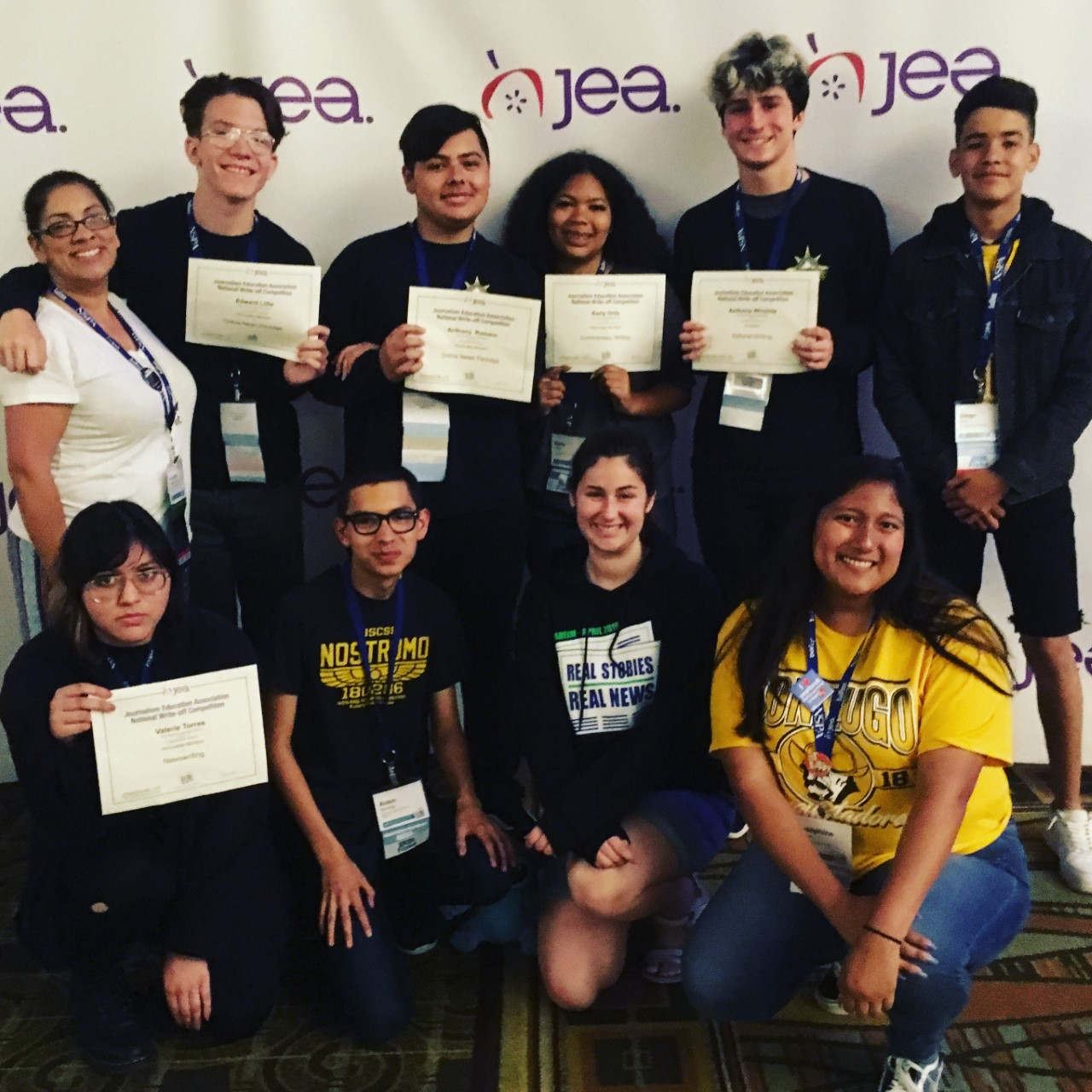 Celebrating their five National Journalism Write-Off Competition Awards are (top to bottom and left to right): Adviser, Annette Deming, CJE, Edward Lillie, Anthony Romero, Karly Ortiz, Anthony Winslow, Diego Cruz, Valerie Torres, Aiden Deming, Andreia Sales, and Josephine Ramos.