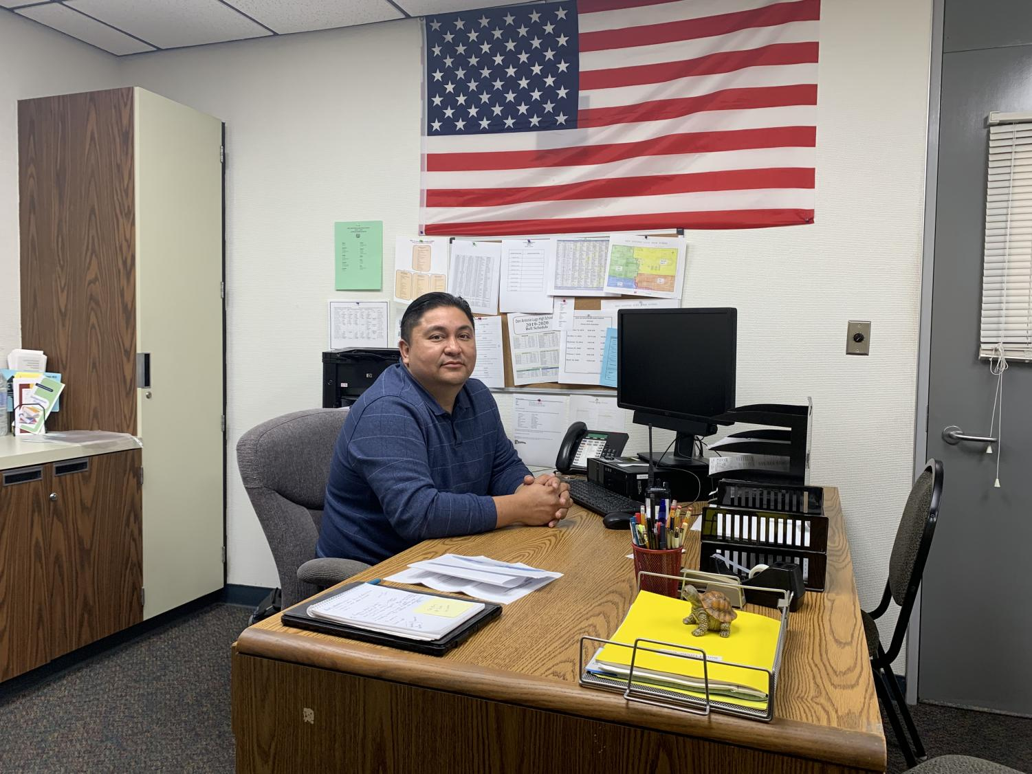 Vice Principal Dr. Ramirez in his office, Photographer Valerie Torres