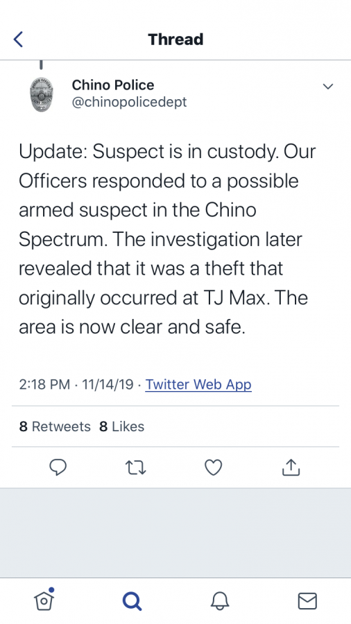 Announcement by Chino PD about an armed suspect in the Chino Spectrum Marketplace.