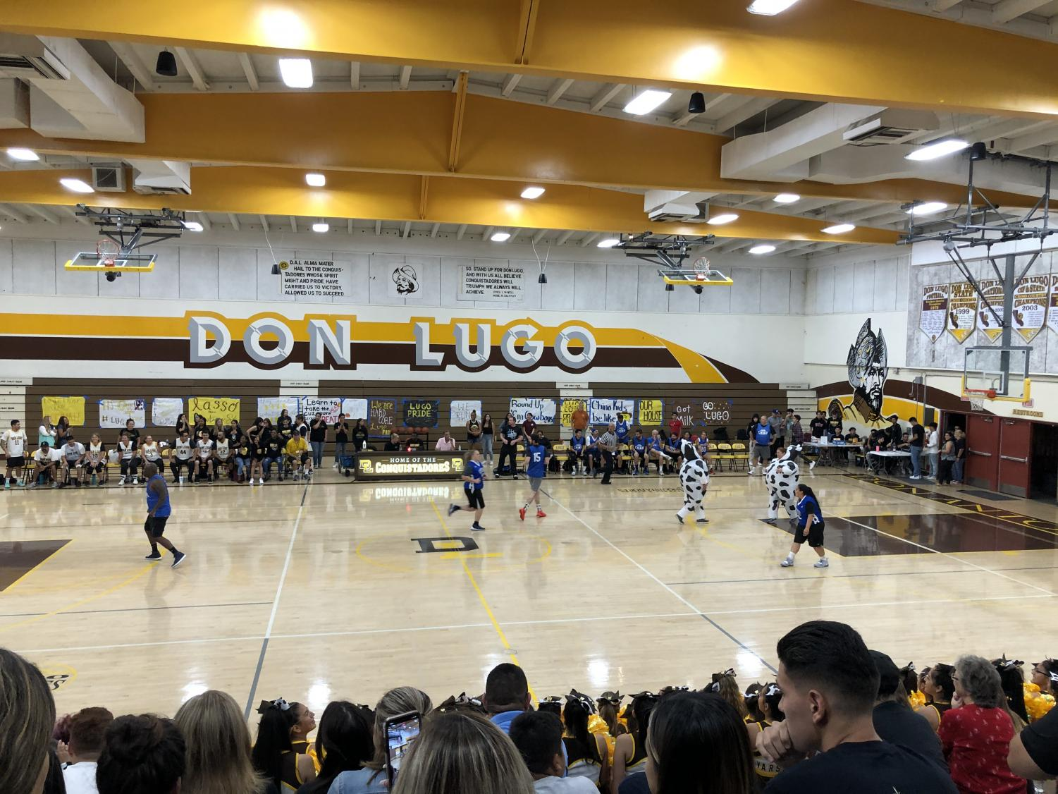 Don Lugo vs Chino HS annual staff basketball game takes place in Don Lugo's gym.