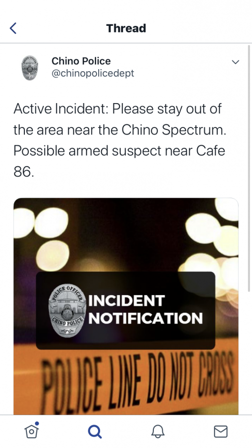 Announcement by Chino PD about an armed suspect in the Chino Spectrum.