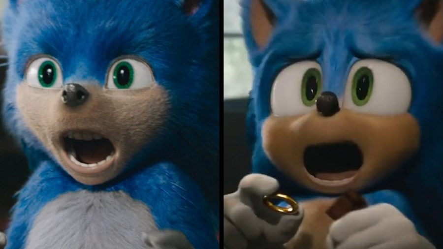 Sonic+The+Hedgehog%2C+as+seen+in+the+original+trailer%2C+released+April+30th+2019.+%28to+the+left%29+The+new+trailer%2C+released+the+day+the+movie+was+to+release%2C+is+seen+on+the+right.+Sonic+The+Hedgehog+is+set+to+be+released+in+theaters+Feb+14%2C+2020.+Photo+courtesy+of+Paramount+Pictures.