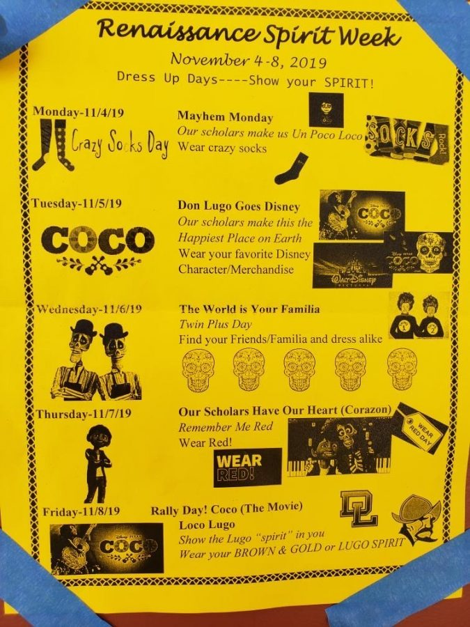 Don Lugo spirit week flyer for the week of the Fall rally. Students can participate in the spirit week to show school spirit and involvement on campus.