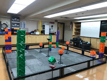 The Robotics Team's practice room where they let their robots roam free in the course while practicing for their tournaments. Photo curtesy to Jennifer Pineda.