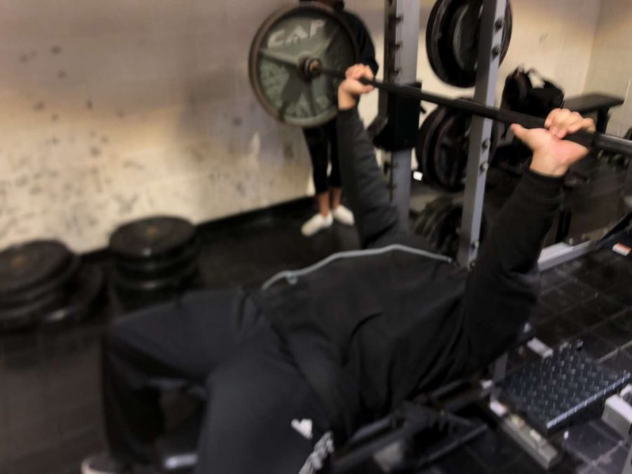 Benjamin Chavez (c/o 2021) bench pressing during weight room class in 4th period.