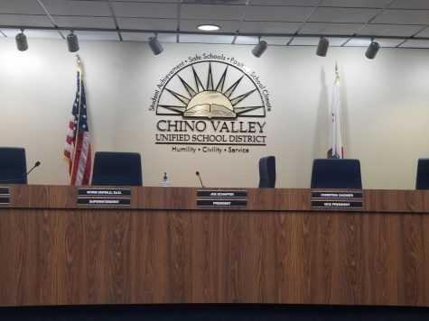 Chino Valley Unified School District meeting room with the board which was used for an emergency meeting.