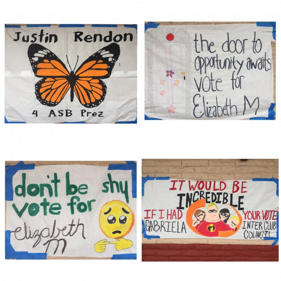 Posters created by class officers to advertise themselves for votes. Justin Rendon (Top Right), Elizabeth M. (Top Right & Bottom Left), Gabriella Gandara (Bottom Right)