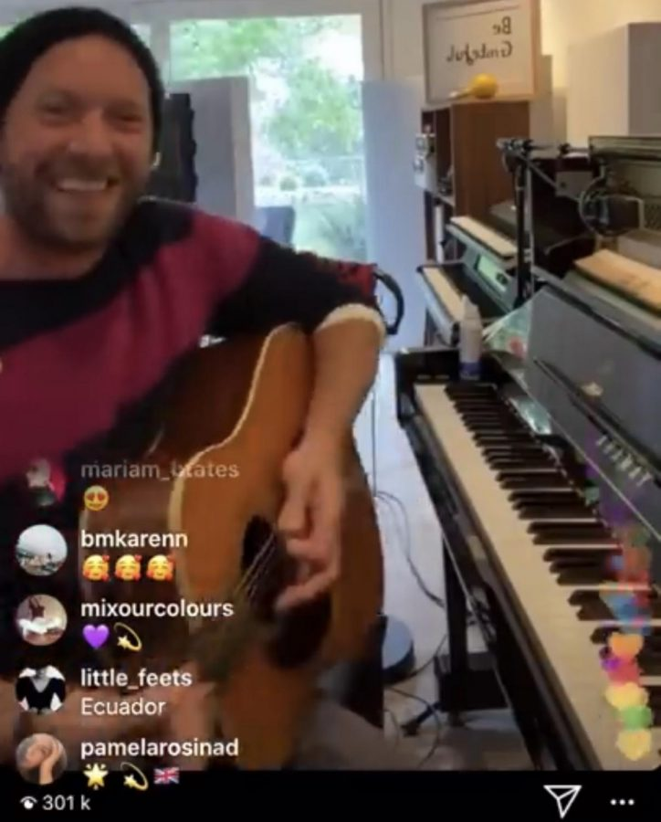 Virtual+concerts+allow+fans+to+watch+their+favorite+artists+perform+live+in+the+comfort+of+their+own+homes.+Lead+singer+and+co-founder+of+the+band+Coldplay%2C+Chris+Martin+Went+live+on+instagram+and+performed+some+of+the+band%27s+songs.+%22Together+at+home.%22