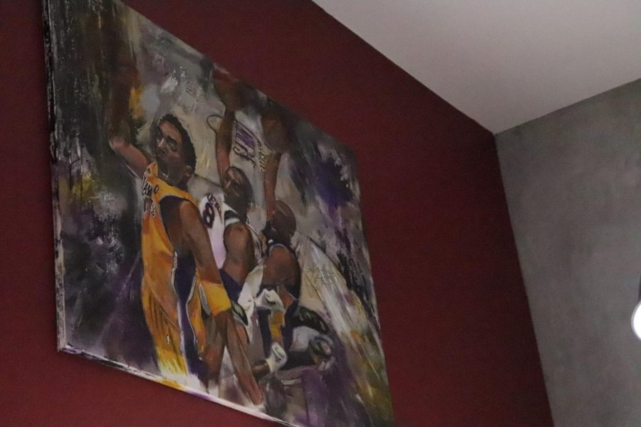 Painting Kobe Bryant in all stages of his career as he goes for dunk.