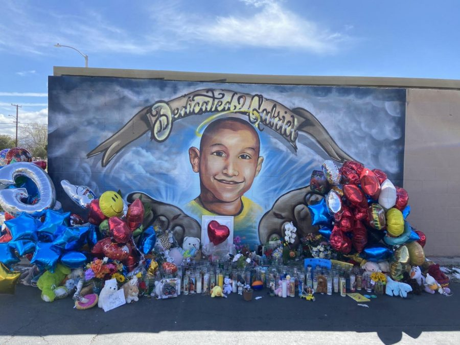 A mural painted in commemoration of Gabriel Fernandez. More and more people have gone to visit it and leave gifts for him.