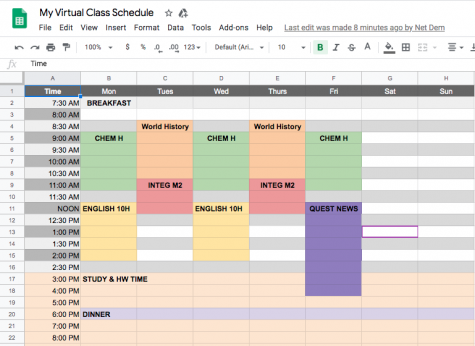 My new online learning schedule. Getting organized is a must when  doing virtual schooling. Students who don