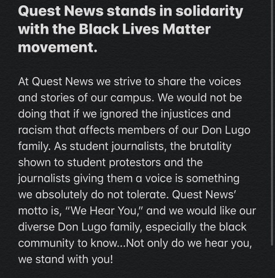 %23BlackLivesMatter+The+Quest+News+Staff+stands+with+the+black+community+and+the+diverse+population+of+Don+Lugo+High+School.+We+Hear+You.+