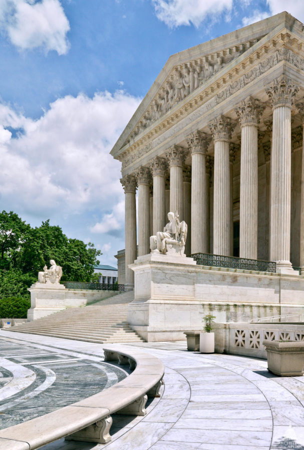 The Supreme Court of the United States is shown, located in Washington, D.C. The Supreme Court is part of the judiciary branch of the U.S. government.
