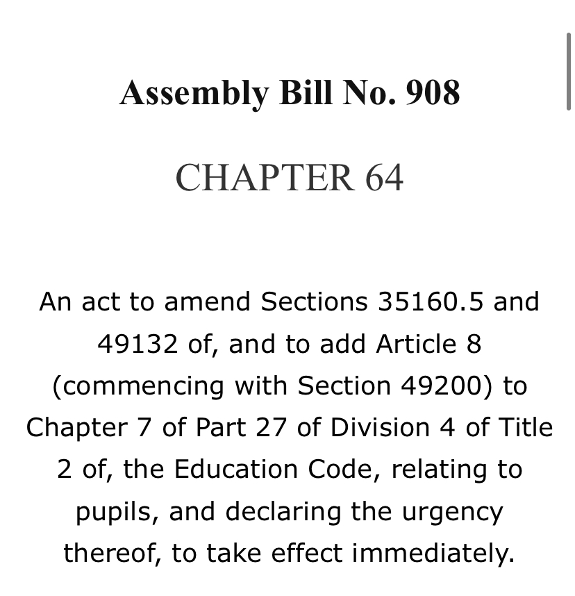 Assembly Bill 908 regarding change towards qualifying grades to play sports.