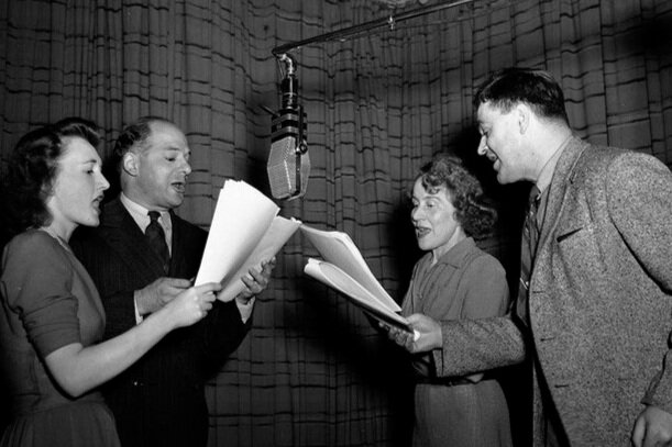 Radio drama being performed by CBS in 1937 (Photo Courtesy of sjarnott.com)