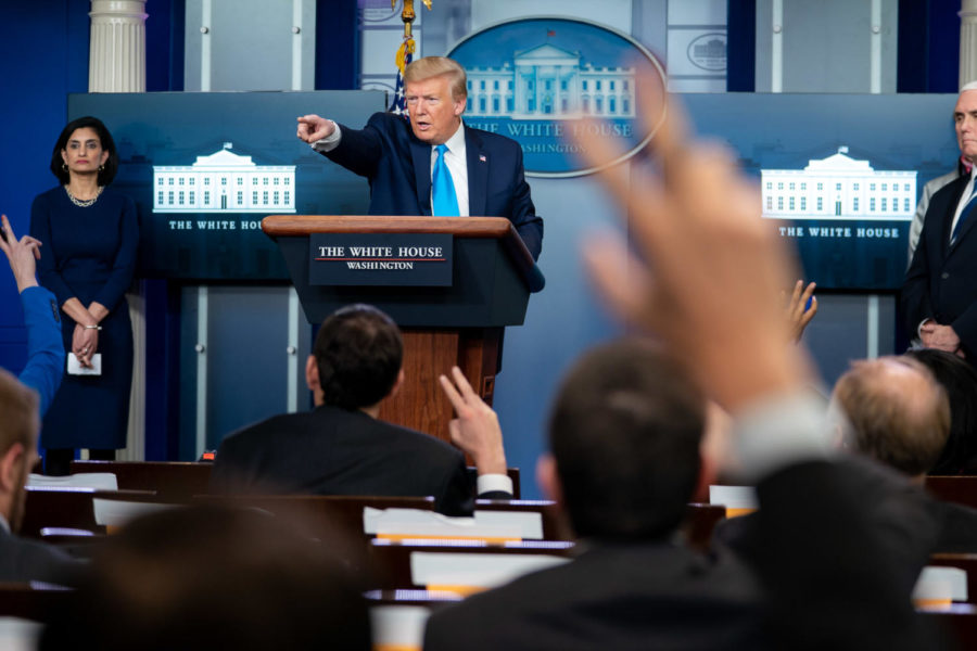 Donald Trump speaks to reporters in the James S. Brady White House Press Briefing Room. During his presidency, there have been less and inconsistent press conferences.