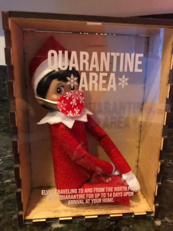 Pixie the Scout Elf arrives to the Deming Home in a quarantine box. At the Deming