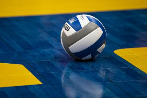 Volleyball rolling on court. (Photo courtesy of Getty Images)