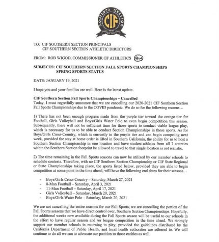 CIFs released statement on the update for Fall Sports (1st page) Photo Courtesy of cifss (Instagram)
