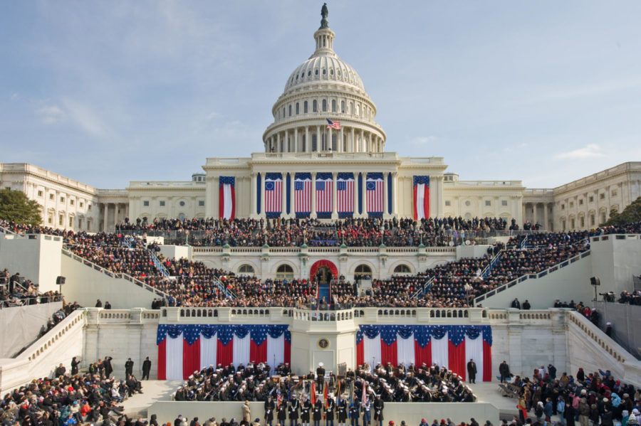 A previous presidential inauguration is pictures, located on Capitol Hill. The 2021 presidential inauguration did not allow this amount of audience per precautions for the COVID-19.