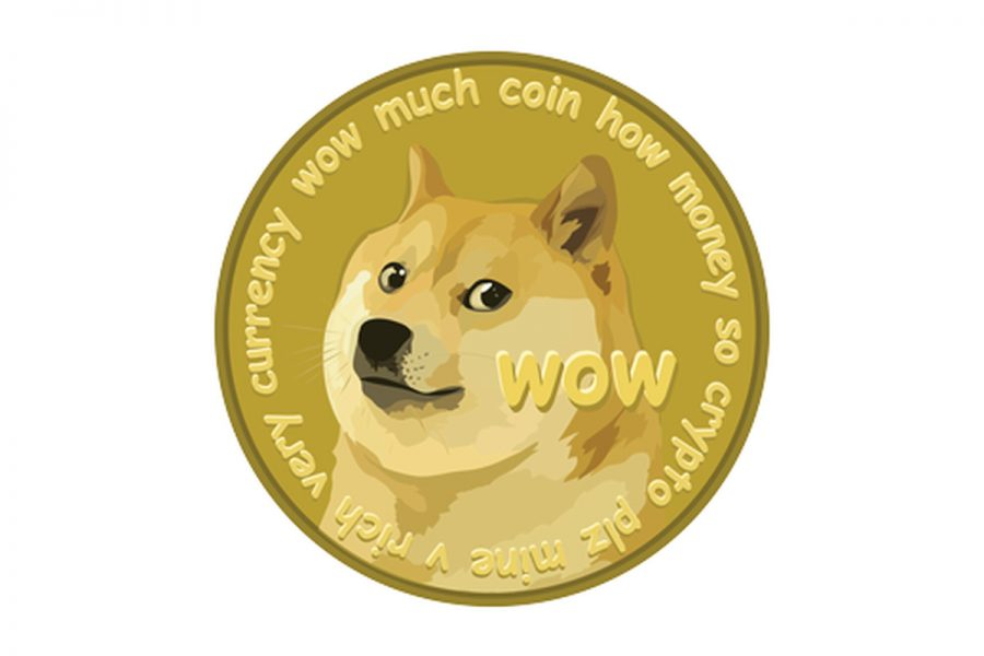Newly updated ogo of Dogecoin cryptocurrency created on December 6, 2013. Dogecoin created by Billy Markus and Jackson Palmer, was initially released to