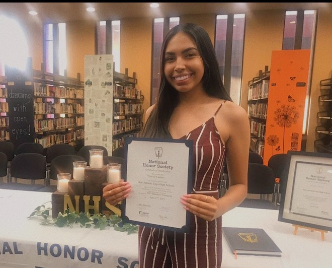 Yesenia Casares, Ap Scholar, is awarded in the National Honor Society