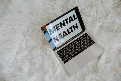 "A laptop displaying the words ""Mental Health"" on the screen that is laid on a white faux carpet. (Photo curtesy: Pexels.com)"