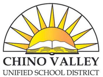 Photo of Chino Valley Unified School District logo. School board holds meeting as they discuss possible return dates for schools to return back on campus.