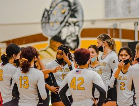 Don Lugo volleyball team huddles to find a solution to finish the game off with a win. This season the girls have been working harder to stay on their feet. I believe that our volleyball team this year is strong and we have very strong bonds with each other, states Capri Salmon.