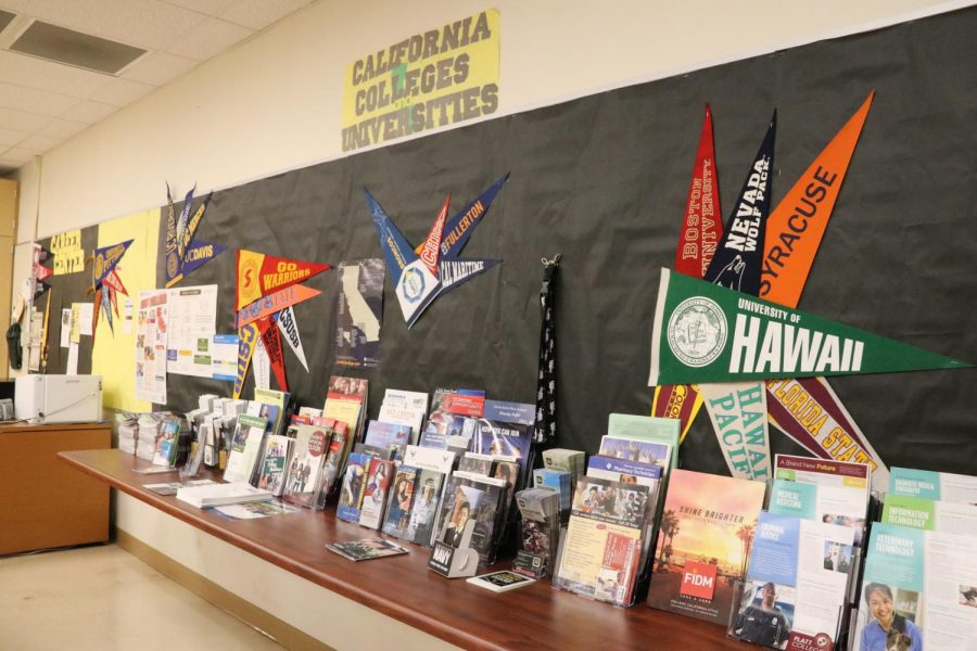 Informational+flyers+about+different+colleges+and+universities+displayed+on+the+table+with+college+pennants+hung+on+the+wall+above+them.+I+promised+that+when+I+became+a+teacher%2C+I+would+make+sure+that+any+seniors+I+had+wouldnt+go+through+the+same+experiences+I+did%2C+shared+Mrs.+Deming.