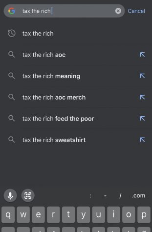 A search of tax the rich appears on the Google search engine. Interest in the tax the rich slogan has spiked on Google ever since AOCs appearance at the Met Gala.