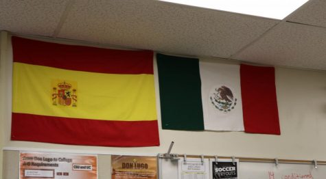 The flags of Spain and Mexico are hung up in one of the Spanish classrooms, Sr. Machuca. A majority of the demographics that make up Don Lugo are Latino and/or Hispanic.