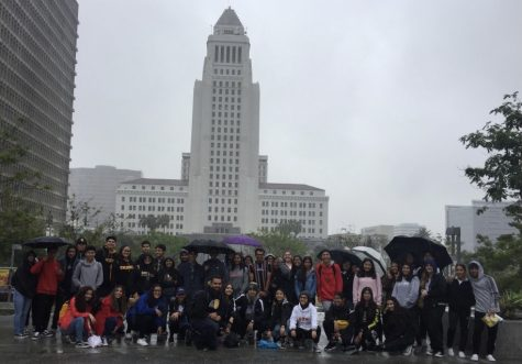 """Mr. Belloso stands side by side with his AP Human Geography students while they are on their annual downtown LA field trip. """"Whenever you travel with students as a school, you learn so much more about those individual students than you ever would in a classroom."""" Says Dr. Olivier Wong."""