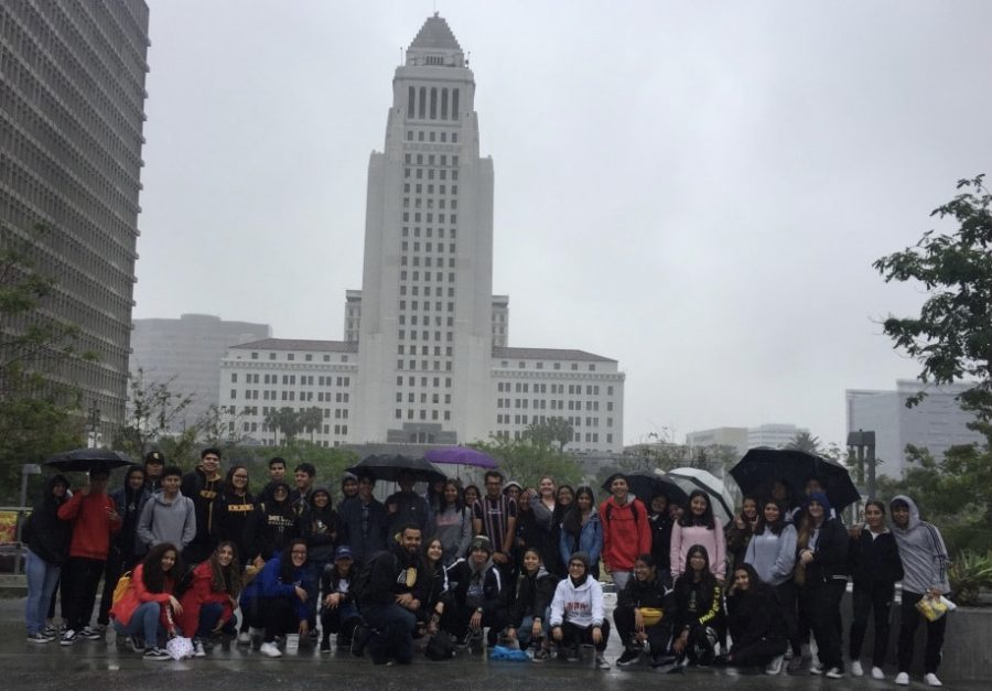Mr. Belloso stands side by side with his AP Human Geography students while they are on their annual downtown LA field trip. Whenever you travel with students as a school, you learn so much more about those individual students than you ever would in a classroom. Says Dr. Olivier Wong.