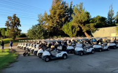 All the golf carts for the tournament are lined up and ready to be taken out. It was a great time being able to see some old friends, Jeff Tribe says.